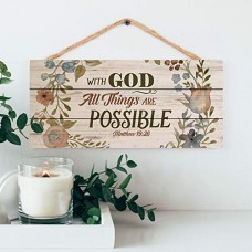 Jute Hanging Sign, With God